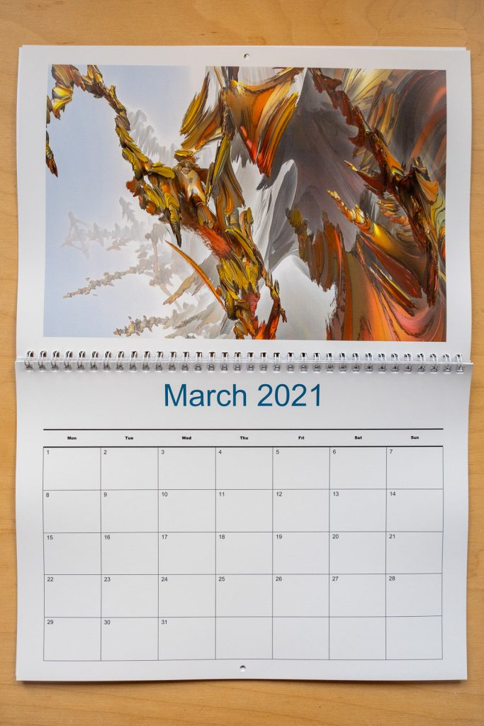 The A4 calendar opens to A3, so there is a full A4 page for the dates for you to write on. Strange Abstractions Calendar 2021